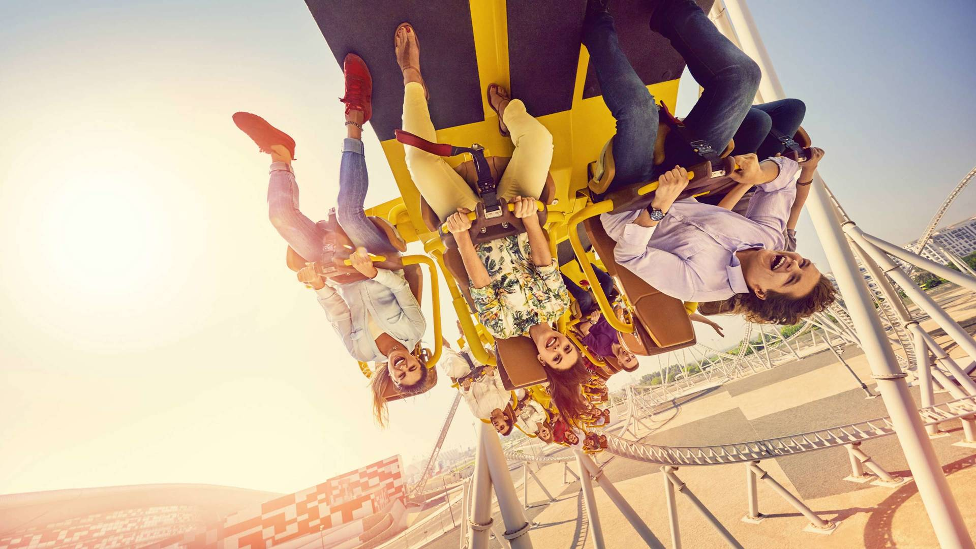 Family on the rollercoaster at Yas Land in Abu Dhabi