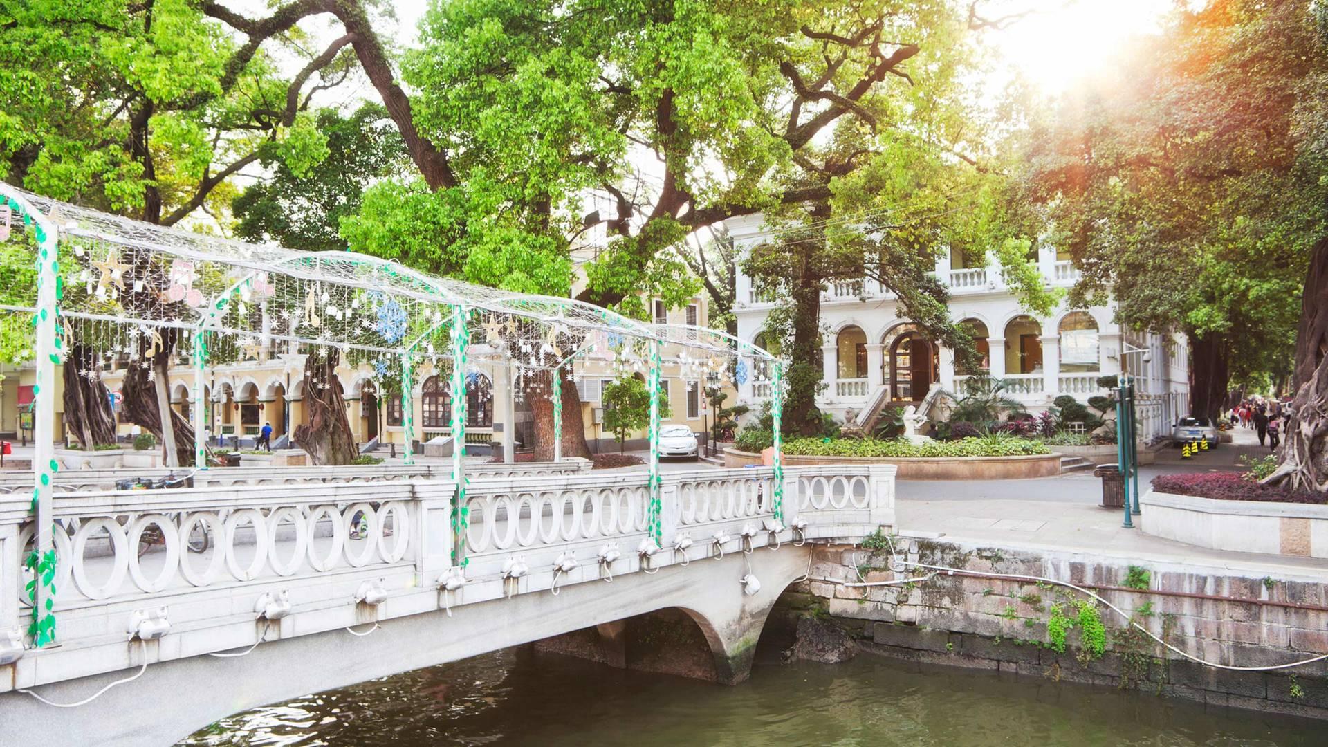 View of the bridge at Shamian Island in Guangzhou