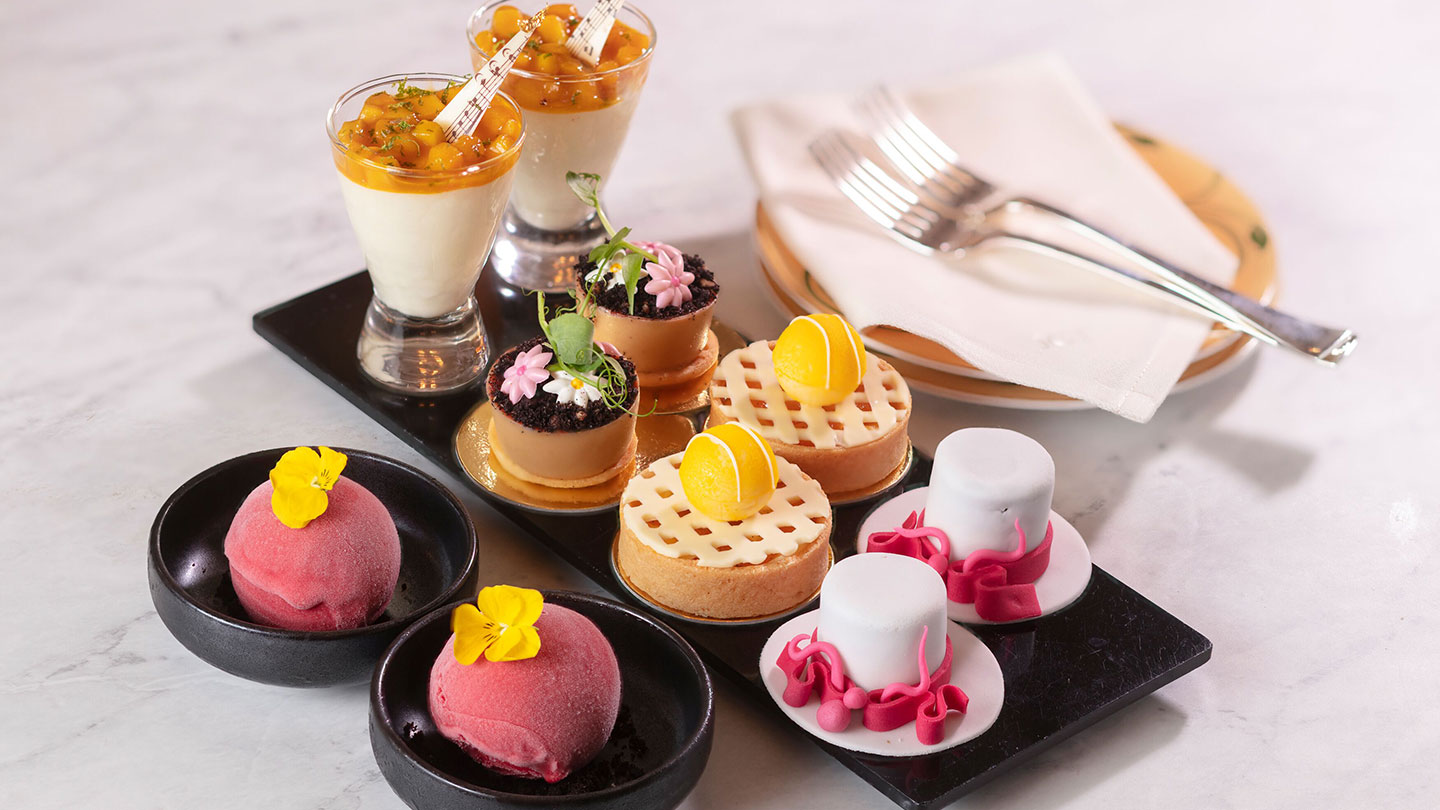 Array of sweets and cakes