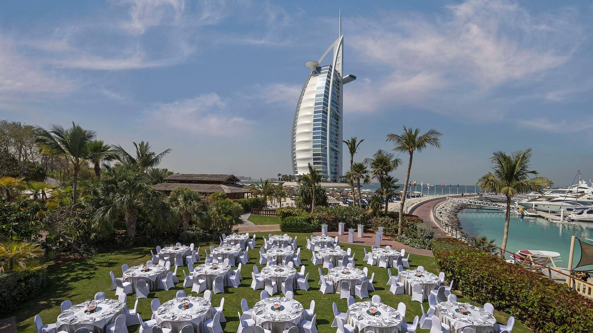 View of the sunset garden at Jumeirah Beach Hotel