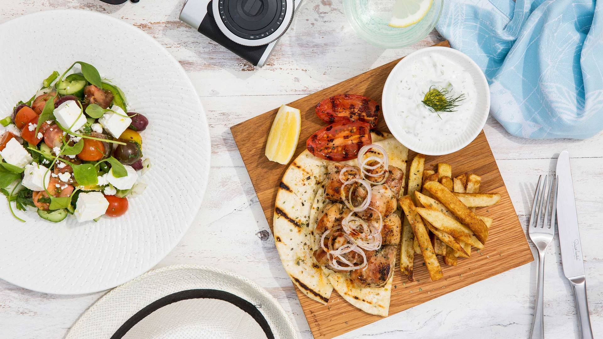 16-9_ Madinat-Jumeirah---Shimmers---Spring-Chicken-Gyros-and-Greek-Salad