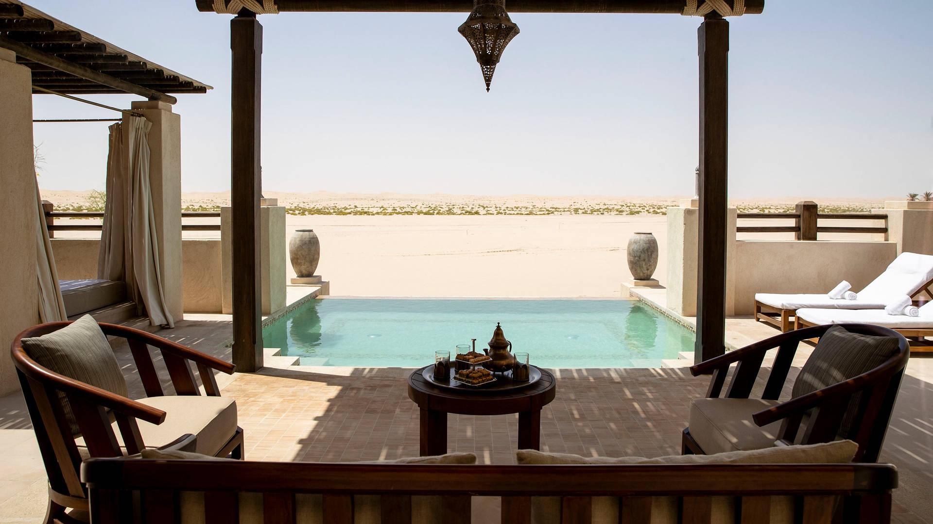 View at the pool of One Bedroom Villa at Jumeirah Al Wathba Desert Resort & Spa